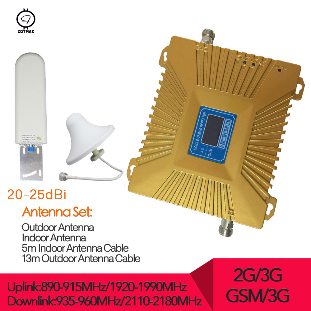 ZQTMAX GSM 3G Repeater 900MHz UMTS 2100MHz Cell Phone Dual Band Booster GSM WCDMA Signal Repeaters 3G Amplifier Full Set