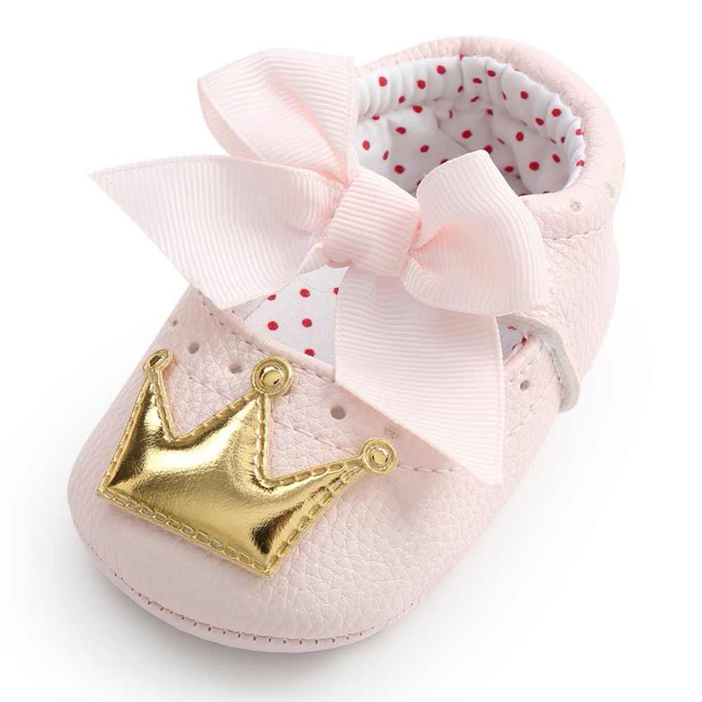 0df059b6d8b9 ... WEIXINBUY Baby Girl Shoes Cute Dots Crown Bling PU Leather Sneakers  Non-slip First Walkers ...