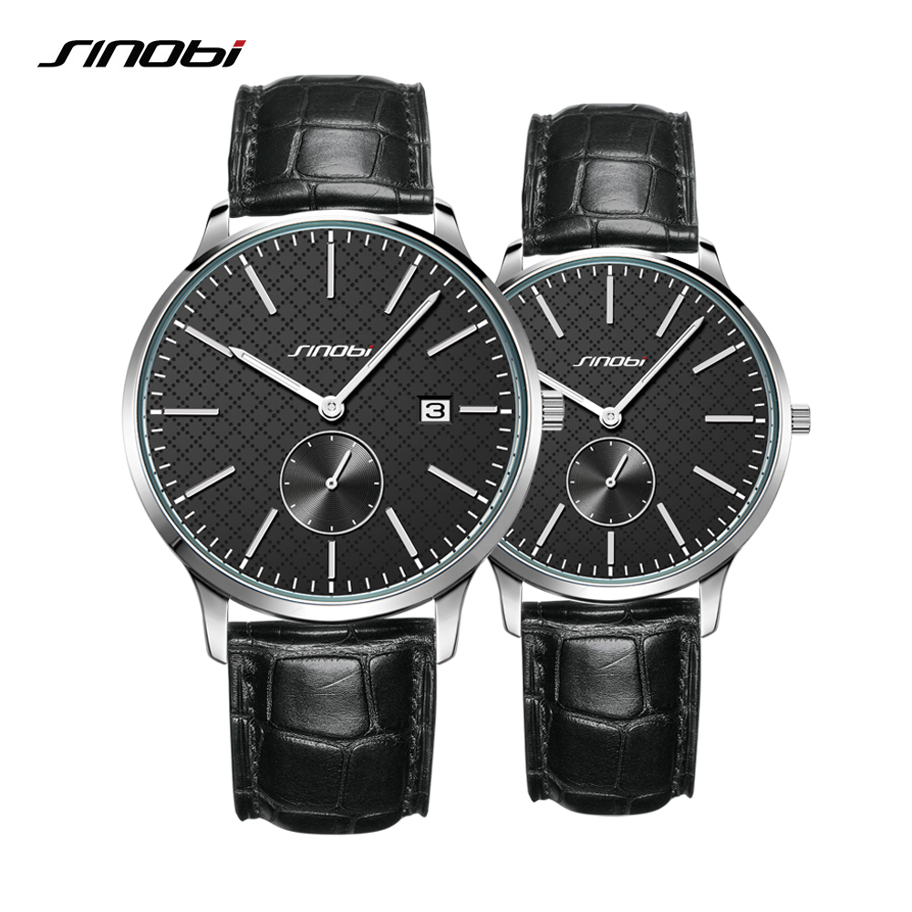 Sinobi Lovers Watches Business Men And Women Fashion Quartz Waterproof Watch Black Leather Strap Couple Watch Valentine's Gift