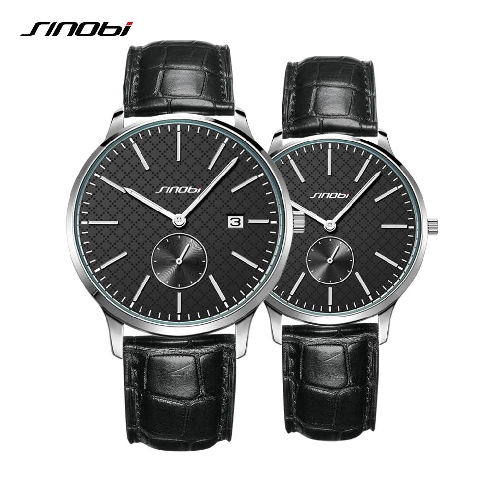 Sinobi Lovers Watches Business Men And Women Fashion Quartz Waterproof Watch Black Leather Strap Couple Watch Valentine's Gift
