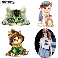 Nicediy Cartoon Cat Patches On Clothes Iron Transfers For Heat Transfer Vinyl Sticker Thermal Press Applique