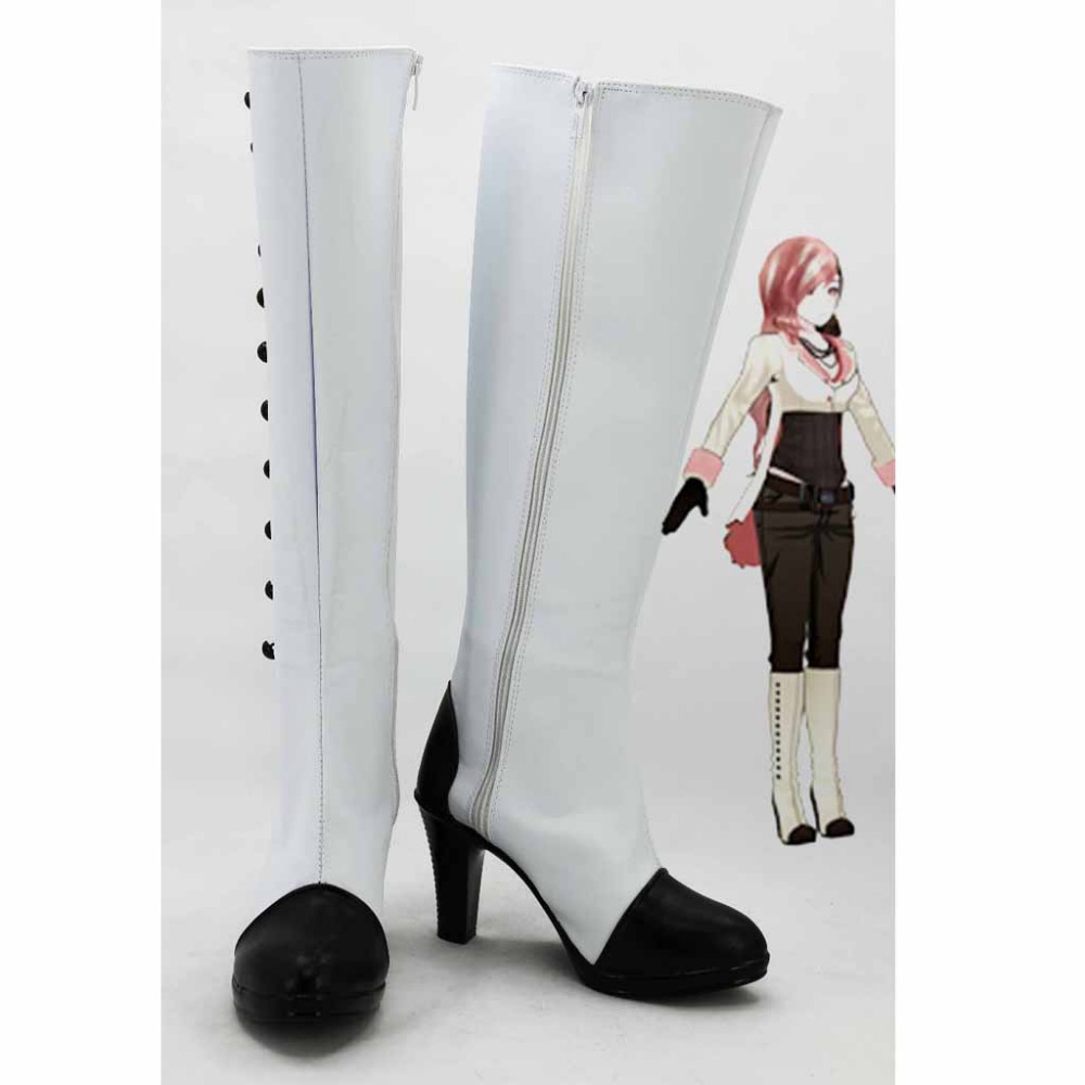 RWBY Neo Boots Adult Women's Knee High Heels Button Zip Casual White Long Boots Custom Made толстовка mazine male half zip hoody 01 neo blue mel neo gr m