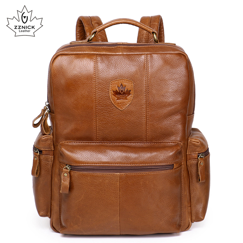 Genuine Leather Backpacks Cow Leather Men Fashion mens leather backpack Vintage Big Casual School Shoulder Bags Rucksack zznick genuine cow leather vintage casual mens women backpack shoulder crossbody bags men travel backpacks for man school laptop bag