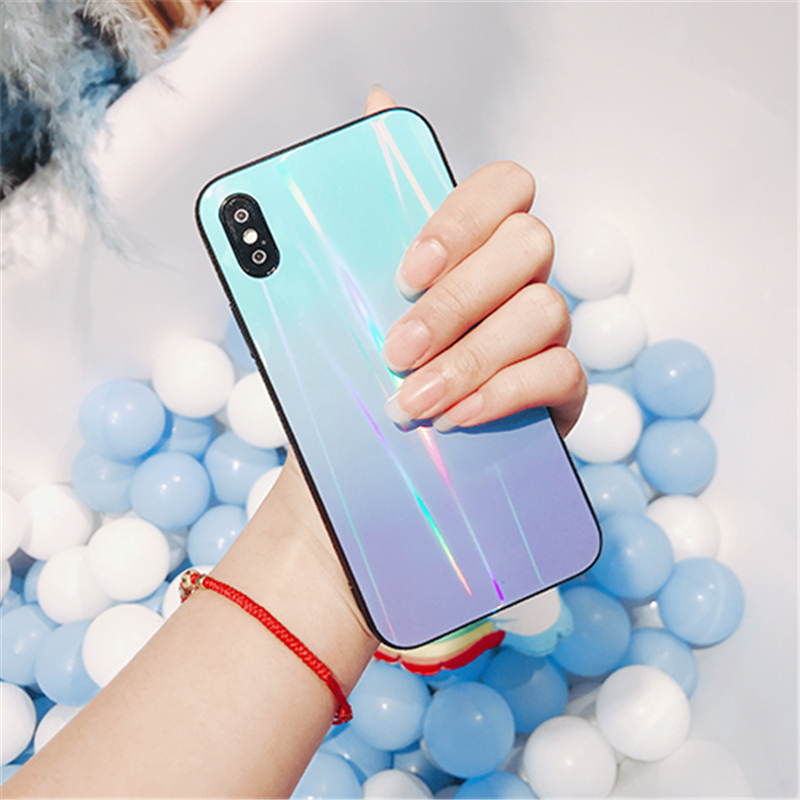 BONVAN For iPhone X 7 8 Plus Tempered Glass Back Case Gradient Color Laser Aurora Silicone Bumper For iPhone 7 6S 8 6 Plus Cover15
