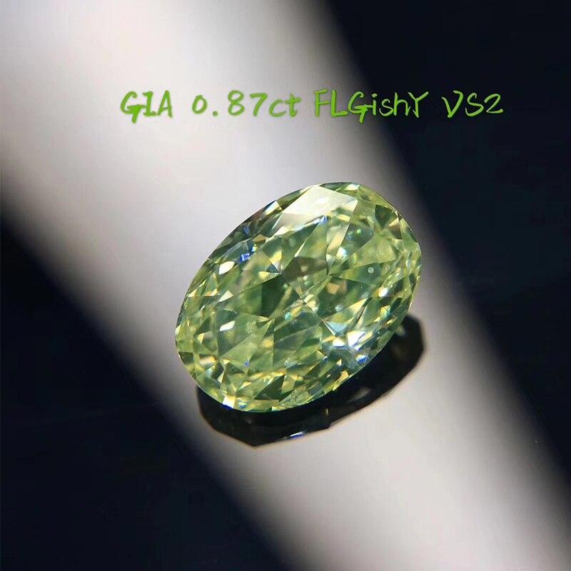 ANI Jewelry Green Diamond GIA Certified VS2 Fancy Light Greenish Yellow Color Diamond Oval/Princess/Cushion Cut