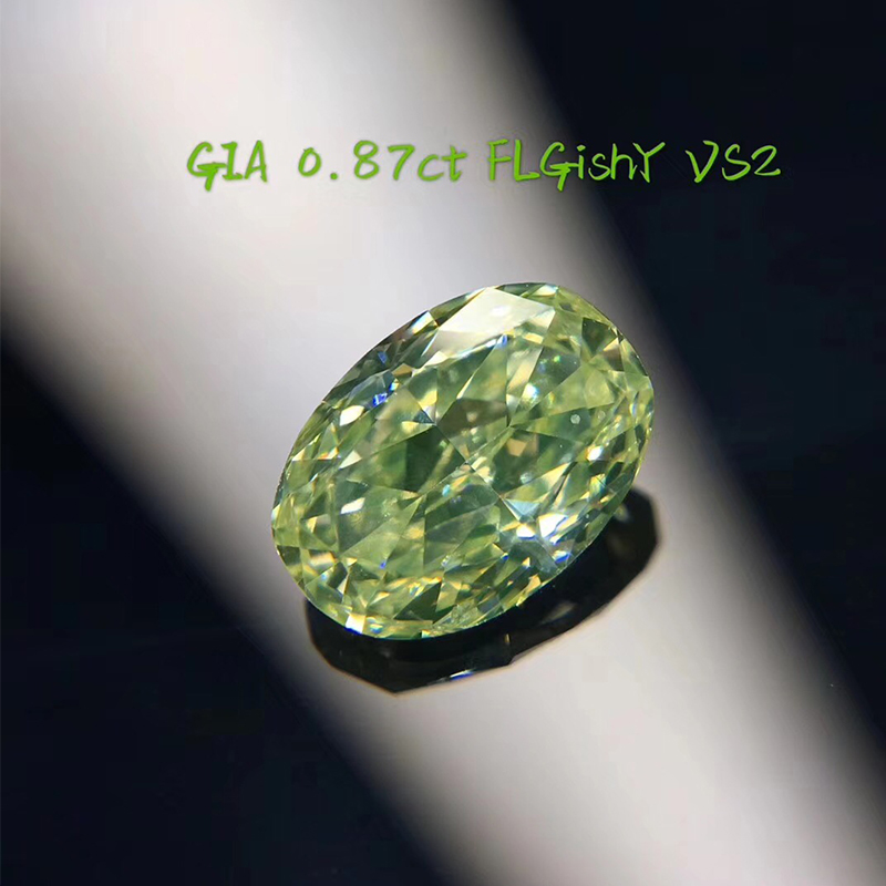 ANI Jewelry Green Diamond GIA Certified VS2 Fancy Light Greenish Yellow Color Diamond Oval/Princess/Cushion Cut