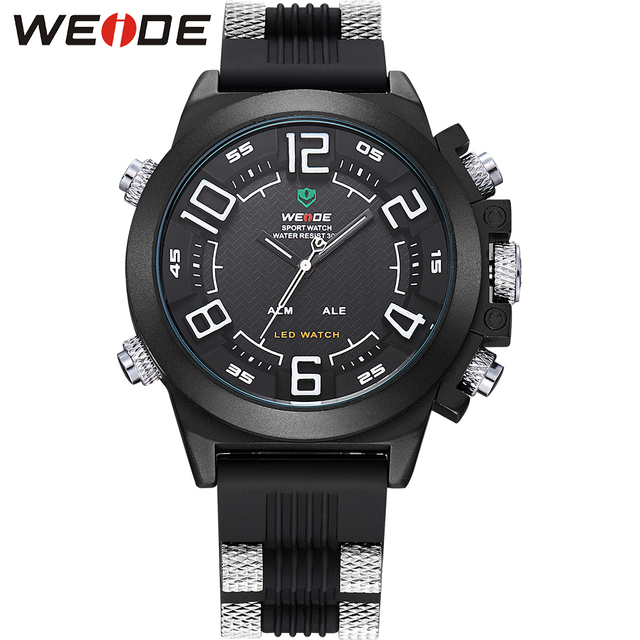 WEIDE Brand Men Quartz Wristwatches Sport Watches Waterproof Watch Relogio Masculino LED Digital Display Silicone Military Clock