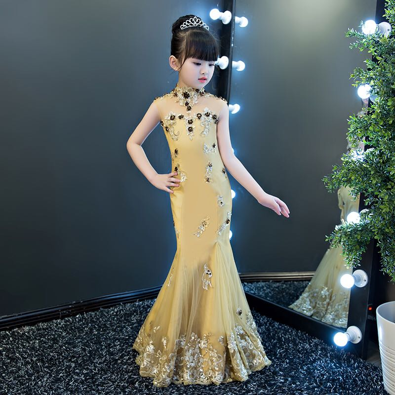 Princess Girls Mermaid Dress 2018 New Sexy Lace Dresses Paillette Backless Lace Up Children's Party Clothing Gold Dress JF452