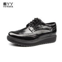 Top Selling Genuine Leather Flat Platform Shoes Women Spring Autumn High Quality Lace Up Flat Black Shoes Women Casual Shoes