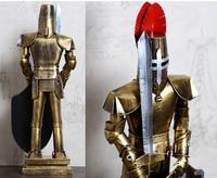 47CM Christmas GIFT TOP COOL fashion office home shop bar decorative art Retro Iron Roman armor shield Warrior art statue J6016