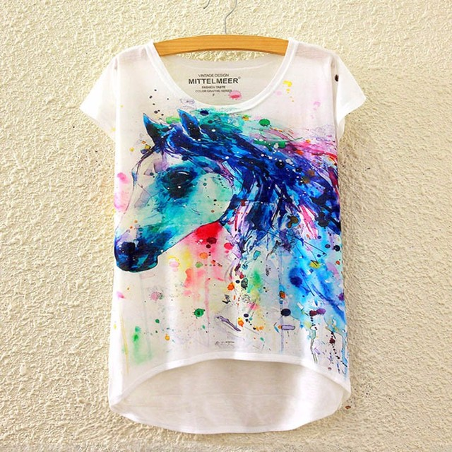 a6c97bed 2017 Brand New Polyester T-Shirt Women Short Sleeve t-shirts o-neck Causal  loose Colored horse T Shirt Summer tops for women