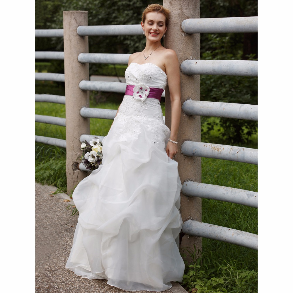 LAN TING BRIDE Ball Gown Wedding Dress Strapless Sweep / Brush Train Organza Taffeta Bridal Gown with Pick Up Skirt Sashes