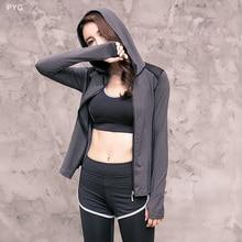 PYG Fall and Winter Women Long Sleeve  Training Coat Fitness Yoga Sport Breathable Coats Slim Tops Hoodies Jacket  c34