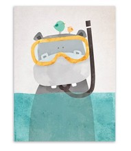 Современная Nordic Kawaii Медведь Hippo Птица Животных Печать На Холсте Плакат Мультфильм Стены Картины Холст Картины Не Оформлена Детская Комната Декор