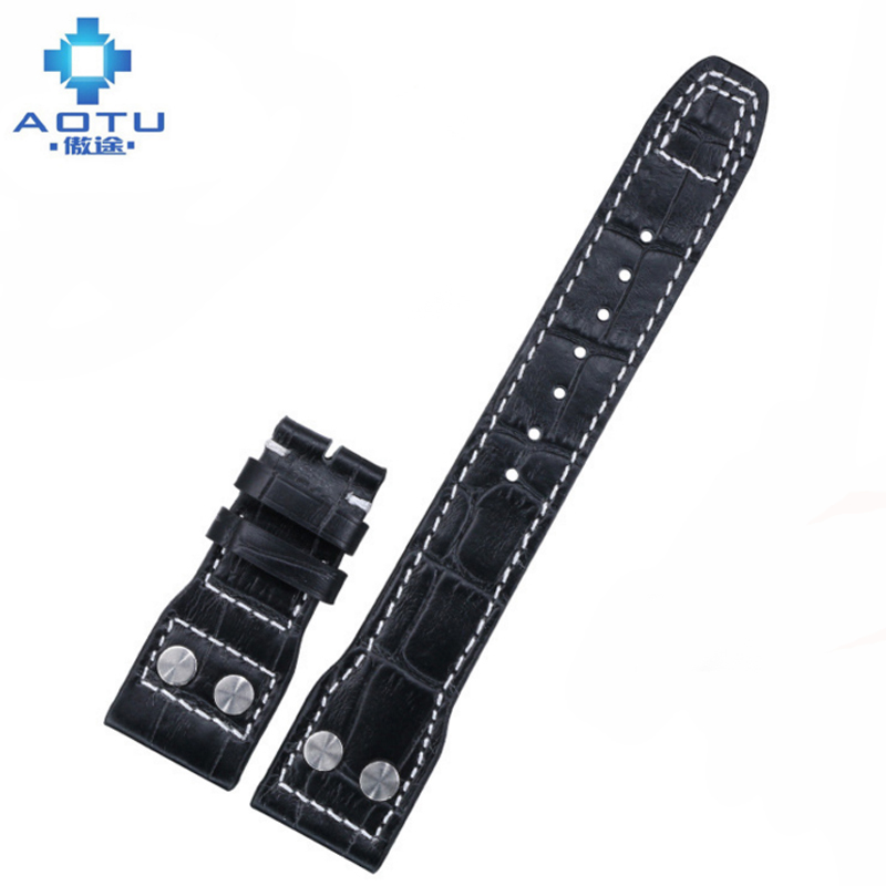 22mm Men's Genuine Leather Watchbands For IWC Pilots Watch Italy Leather 2 Colors Watch Strap For Male Wristband Strap Belt