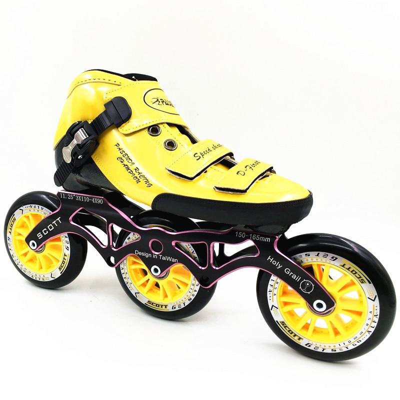 Prix pour PASENDI inline chaussures de patinage de vitesse Professionnel enfant inline patins à roulettes pasendi Patins Adultes Inline 3 roues de Skate de Vitesse