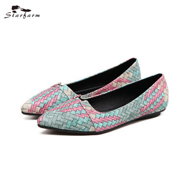STARFARM Women's Classic Ballet Flat Weave Mules Shoes Pointy Toe Leather Comfort Slip On Flats Shoe Causal 2017 Designer red