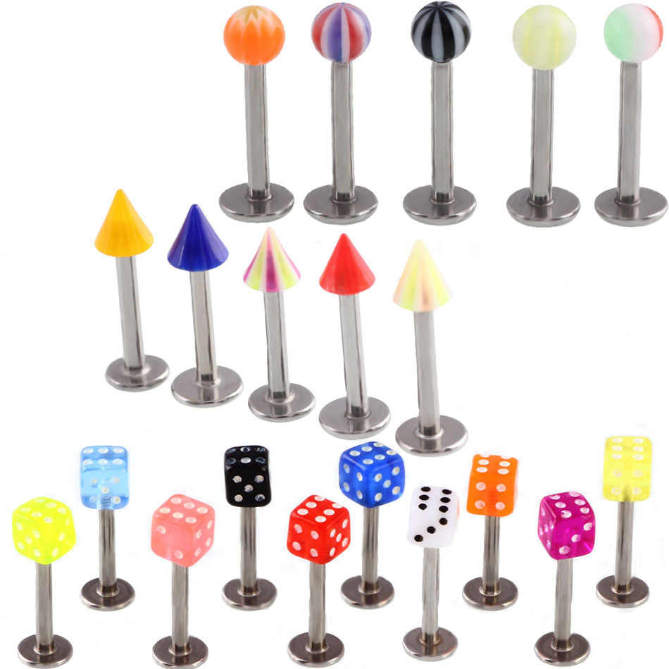 1pc Steel Random Color Piercings Ear Studs Segment Ring Nose Ring Lip Piercings Round Ball Cone Body Jewelry Piercing
