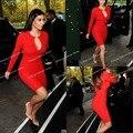 New fashion sexy  knee length long sleeve  kim kardashian sexy red keyhole dress celebrity inspired dress Celebrity Dresses