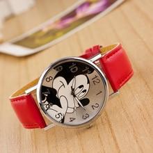 imple style Mickey Mousefashion Wrist watches for Women Buckle  Round Cartoon Quartz Watch Leather children wristwatch