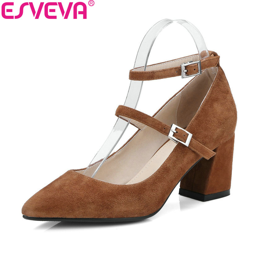 ESVEVA 2018 Women Pumps Solid Kid Suede PU Square High Heels Shoes Buckle Strap Pointed Toe Concise Women Pumps Shoes Size 34-39 esveva 2018 women pumps elegant butterfly knot pointed toe square high heels pumps suede slip on pumps women shoes size 34 39