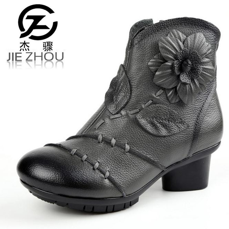 Nationalities style female boots Genuine leather Crude heel retro High heel women boots 2017 winter mom  martin boots boty dearomatization of crude oil