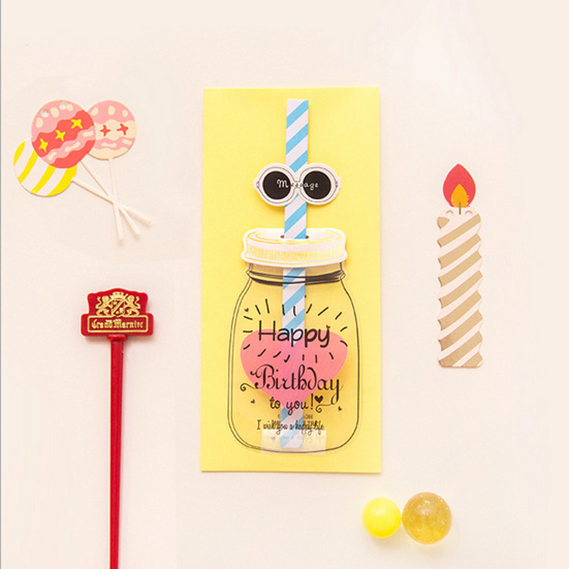 creative happy birthday letter envelope paper novelty feed bottle greeting card postcard gift