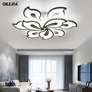 Image 3 - אקריליק מודרני תקרת אורות למיטה בסלון חדר לבן צבוע Plafond led תקרת מנורת שלט רחוק תאורת גופי