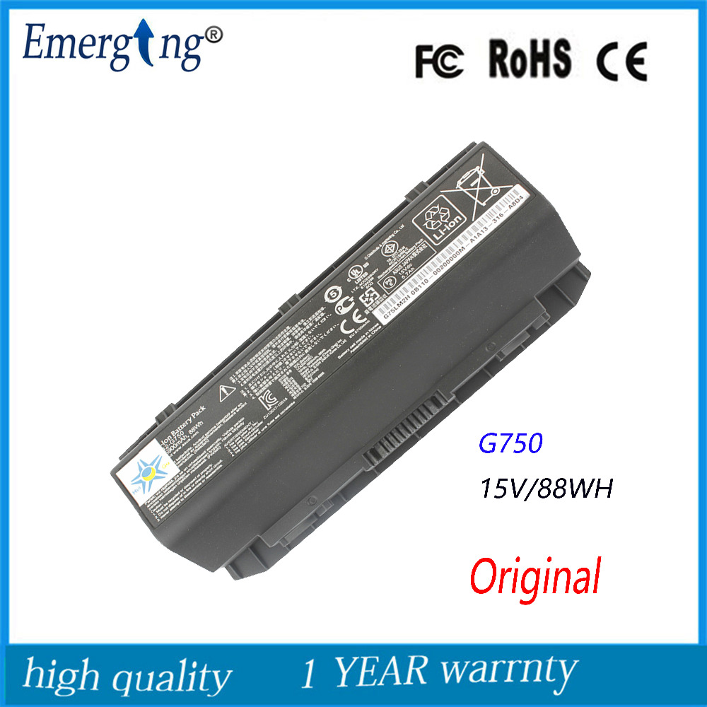 15V 5900MAH Original  New Laptop Battery for ASUS A42-G750 G750J G750JH G750JM G750JS G750JW G750JX G750JZ new genuine 14 4v 5200mah 74wh 8 cells a42 g55 notebook li ion battery pack for asus g55 g55v g55vm g55vw laptop