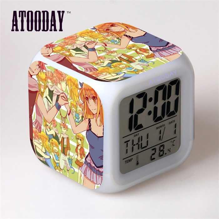 Fairy Tail Jam Alarm Digital Single Face LED Modermcharacter Square LED Mainan Anak Perempuan Anak Hadiah