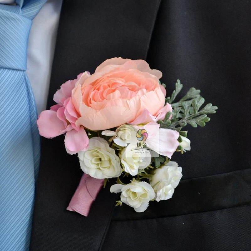 pink rose groomsman party prom wedding flowers wedding best man rose boutonniere branches mix match corsage