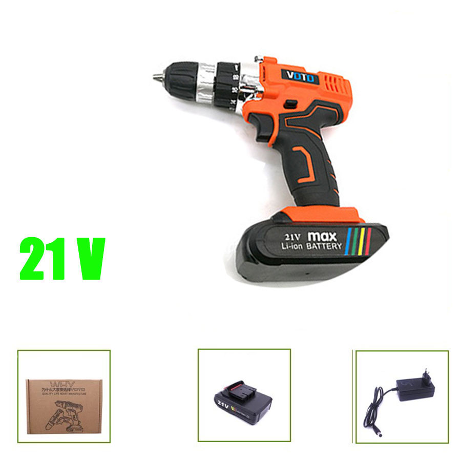 VOTO V6 Battery Rechargeable Cordless Drill Electric Screwdriver Set Lithium Power Tools Screw Gun Driver 21V Orange 2018 voto v6 battery rechargeable cordless drill electric screwdriver set lithium power tools screw gun driver 12v 16 8v 21v pink