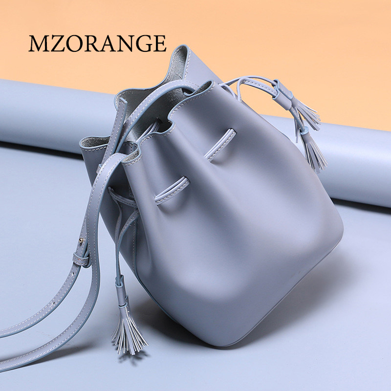 2018 Simple classic Genuine Leather women Bucket Bag Crossbody Bags High quality leather women handbag Small Tassel shoulder bag 247 classic leather