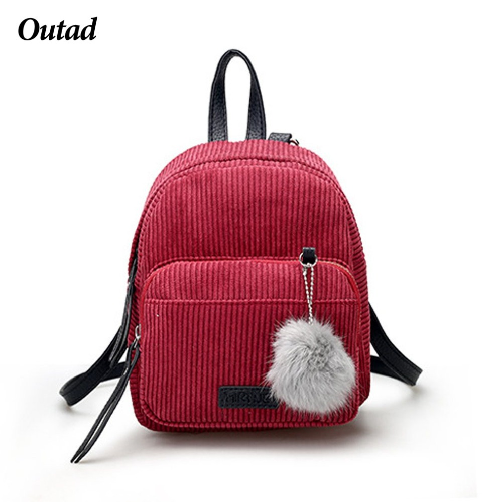 OUTAD Girl Backpack Small Women Shoulder Bag Fur Ball Solid Color Corduroy Back Pack Winter Velvet School bag ZX327501