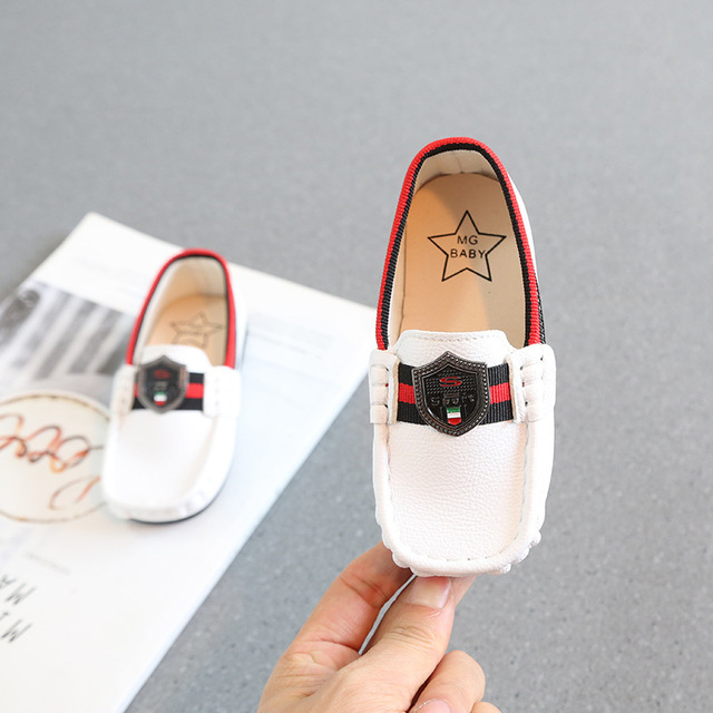 Spring new square mouth princess little genuine leather shoe for kids boys toddler girl party shoes flats loafers white black