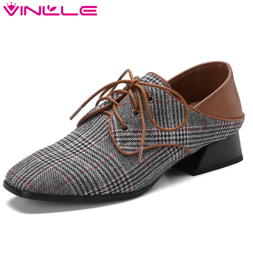VINLLE 2018 Women Pumps Square Low Heel Pointed Toe Genuine Leather Lace Up Fashion Ladies Wedding Shoes Size 34-42 набор инструмента berger bg043 14