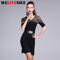 Professional Women Latin Dress Hot sale Sexy Tassels Rumba Jive Chacha Ballroom Latin Dance Dress Salsa Dress Color Black #6225
