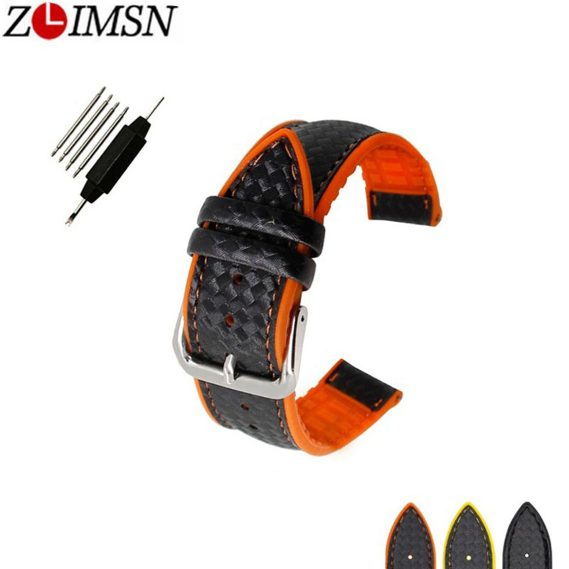 ZLIMSN Carbon Fiber Grain Silicone Rubber Universal Bracelet Accessory Waterproof Belt Sports Strap For Man 18mm 20mm 22mm