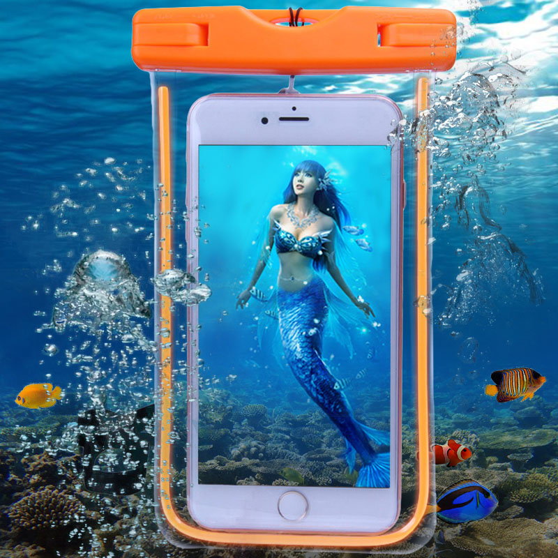 Fluorescente Funda Impermeable Universal Para el iphone 6 S Bolsa de La Caja Par