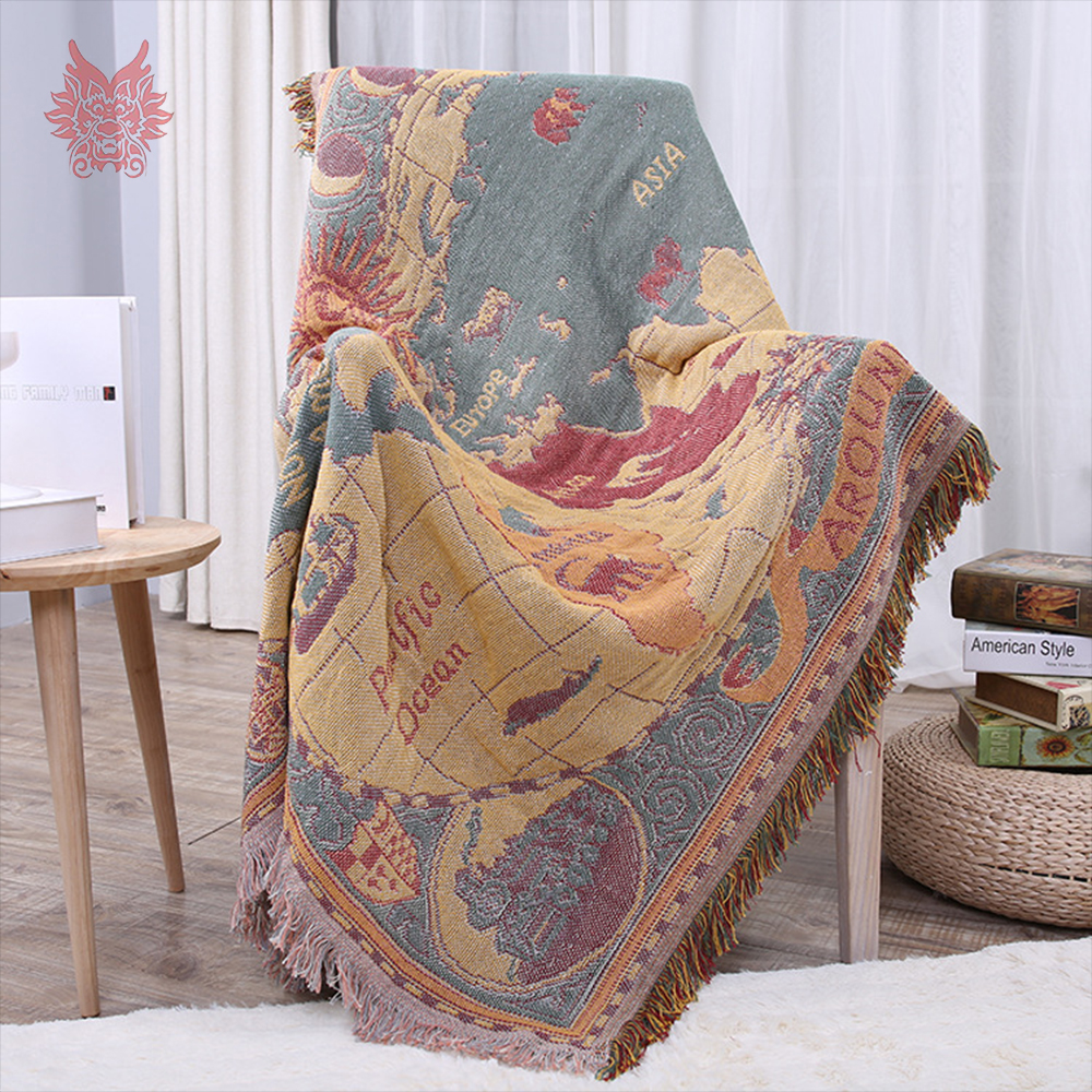 American style map weaving 100 cotton decorative sofa towel cover blanket for bed throw funda sillon