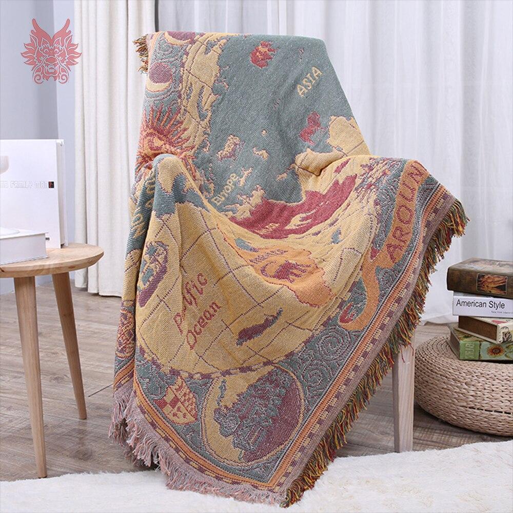 Amerikanischen stil karte weben 100% baumwolle dekorative sofa handtuch abdeckung decke für bett werfen funda sillon freies verschiffen SP4910-in Sofabezug aus Heim und Garten bei  Gruppe 1