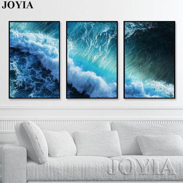 Elegant Triptych Modern Seascape Painting Canvas Art Blue Dark Surge Waves Wall  Pictures For Living Room Home