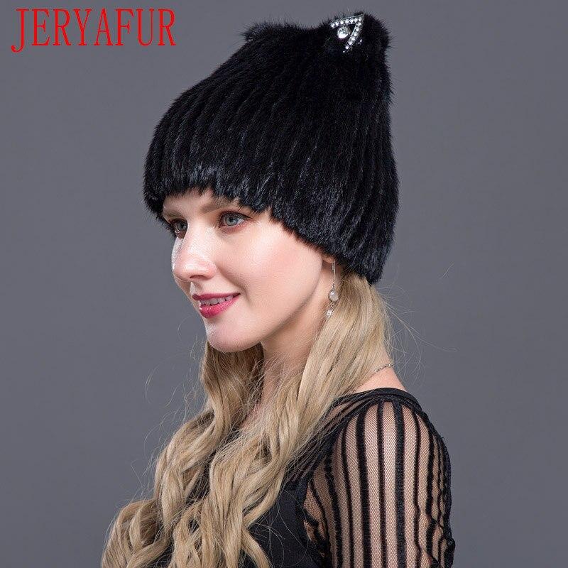 JERYAFUR 2018 Russian Fashion Mink Fox Fur Hat Fashion Youth Winter Women's Cat Ears Style Cute Mink Fur Cap Ski Cap Fur Cap