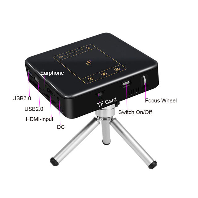 Handheld Mini LED Projector 1080p Android 7.1.2 8000mAh Battery Support