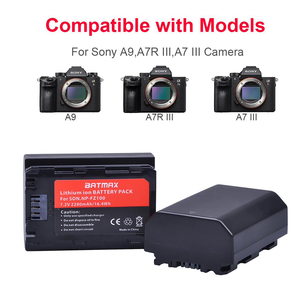 2 Pc 2280 mAh NP-FZ100 NPFZ100 NP FZ100 Batterie + LED Double USB Chargeur pour Sony NP-FZ100, BC-QZ1, Sony a9, a7R III, a7 III, ILCE-9 - 2