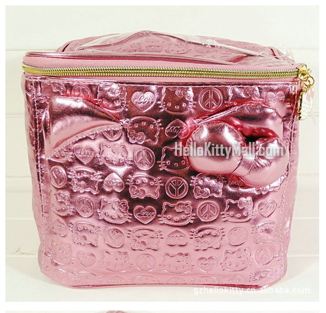 Trousse maquillage femme Hello Kitty bolso cosmético Stereo rose roja de la historieta Tronco tienen Cremallera material de LA PU de maquillaje bolsa