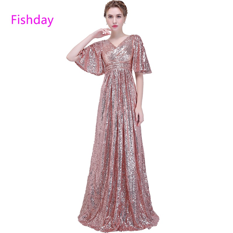 US $75.99 |Aliexpress.com : Buy Fishday Evening Dresses A line Sequin  Formal Long Party Women Plus Size Special Occasion With Half Sleeve robe de  ...