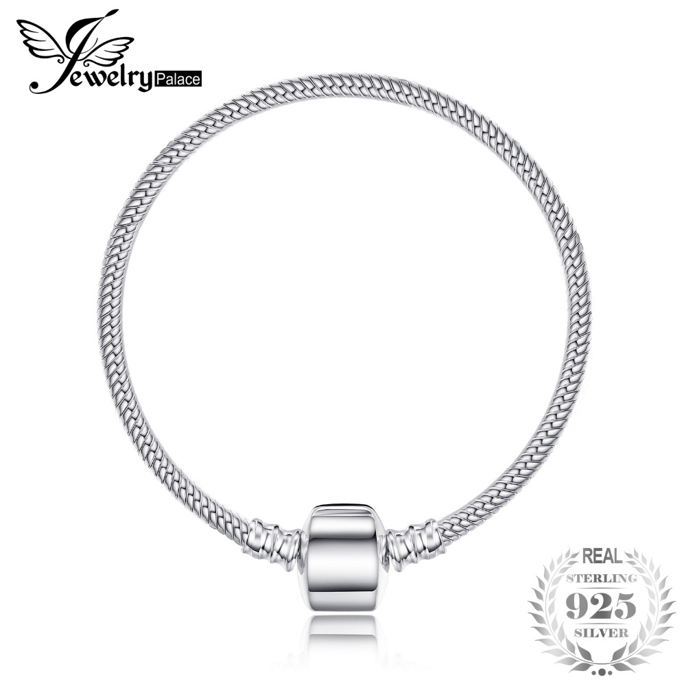 все цены на JewelryPalace 100% 925 Sterling Silver BraceLets Bangle Charms Beads CLasp 16-19cm Beaded Bracelet DIY Jewelry Trendy Best Gifts