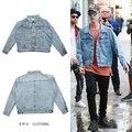 Весте мужские пальто светло-голубой Кромки прохладно куртки мужская одежда хип-хоп kanye джастин бибер джинсовой жан куртки бренд одежды