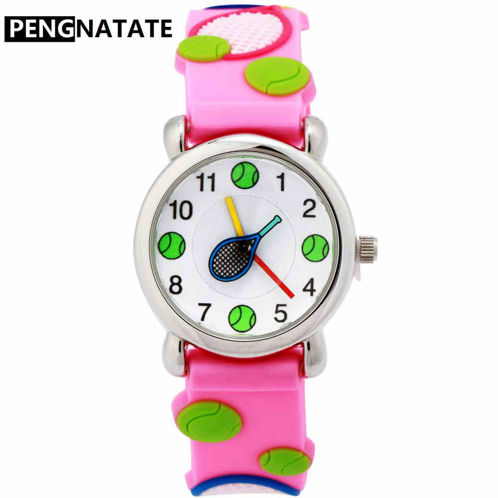 PENGNATATE Children Watches Lovely Pink Girls Cartoon Watch 3D Tennis Strap Silicone Bracelet Wristwatch Students Boys Kids Gift